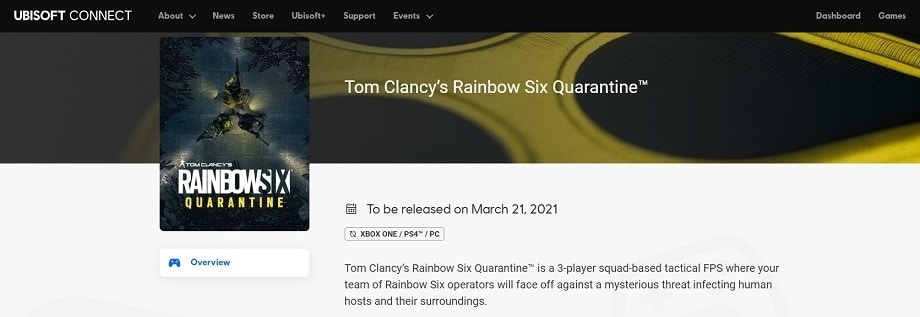 ubisoft connect rainbow six quarantine